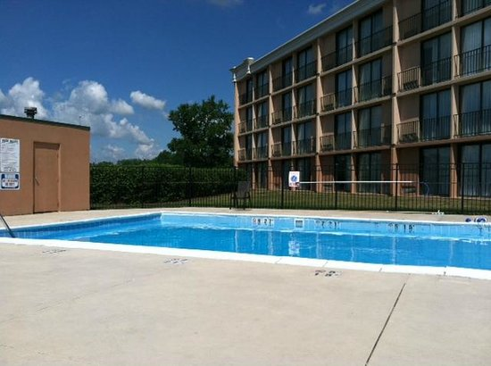 Holiday Inn Akron-Fairlawn: Outdoor pool. Opposite (unseen) view is the parking lot.