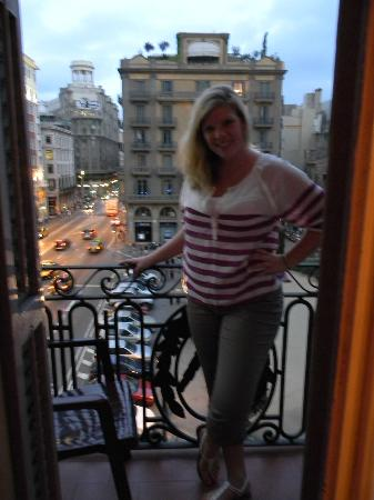 Hostal Layetana: Me on our balcony overlooking the street below