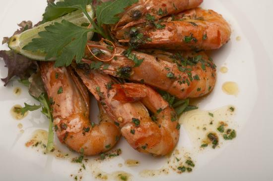 Mussi's: Pan fried Tiger Prawns with garlic, chilli & lime