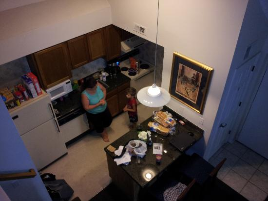 Chase Suite Hotel- Tampa: View of the living area from above, the coffeepot is ours, theirs was a small 4-cup Sunbeam