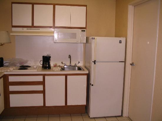 Extended Stay America - St. Petersburg - Carillon Park: dreckige, alte Küch, dreckiges Geschirr in Schränken, Schimmel am und im Kühlschrank