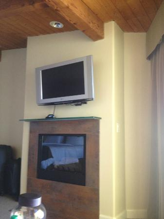Malibu Beach Inn: Flat screen & fireplace