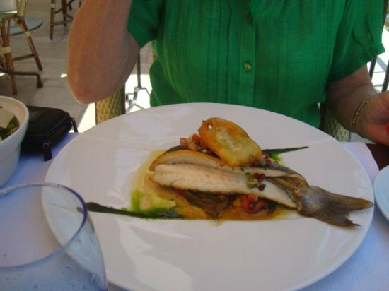 Mougins, France: Sea Bass with red and yellow pepper salad