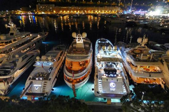 night time view from hotel restaurant picture of port palace hotel monte carlo tripadvisor. Black Bedroom Furniture Sets. Home Design Ideas