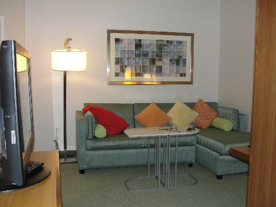 SpringHill Suites Alexandria: Very Nice pull out couch, tiny kitchenette to the left!