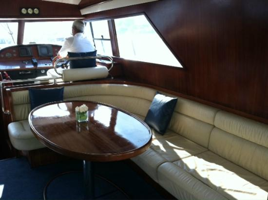 Byzas Tours: Ample seating inside the yacht