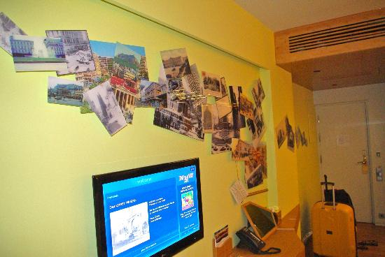 New Hotel: The style of one of the rooms. Old pictures of Athens. Cool.