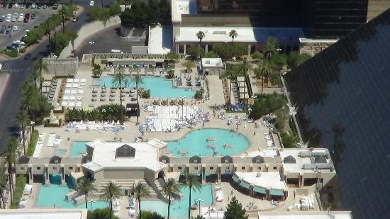 Pools at luxor from top of mandalay bay hotel picture of for Nspi pool show vegas