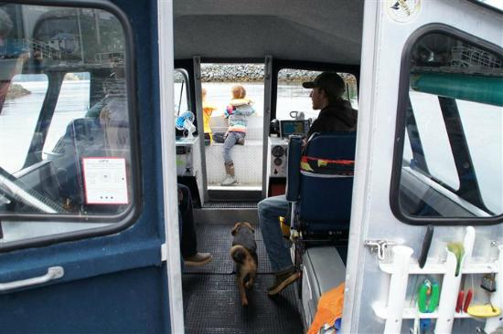 Aquatic Alaska Adventures: View of the interior of the boat with Ryan at the wheel. Two seats with springs.