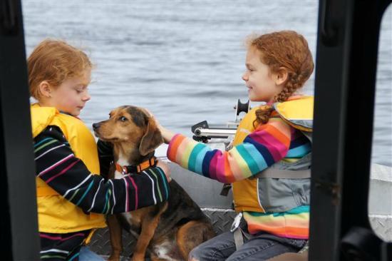 Aquatic Alaska Adventures: Small children and dog on the bow.