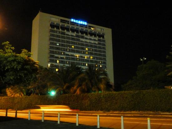 The Jamaica Pegasus Hotel: View from across the street.