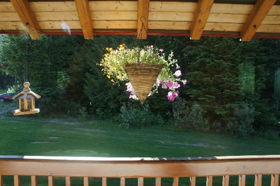 Heather Mountain Lodge: Flowers decorating the verandah