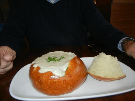 Knuckles at the Wharf: Clam chowder in sourdough bowl
