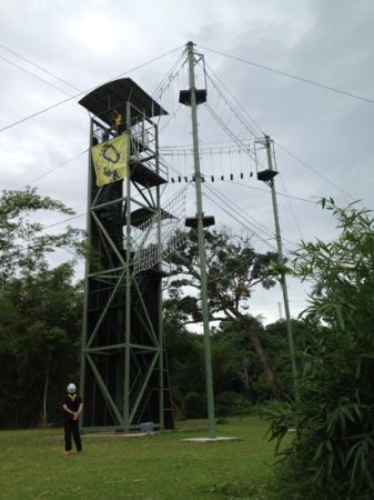Zip Borneo: that freaking high tower..... but I made it... yohooo....