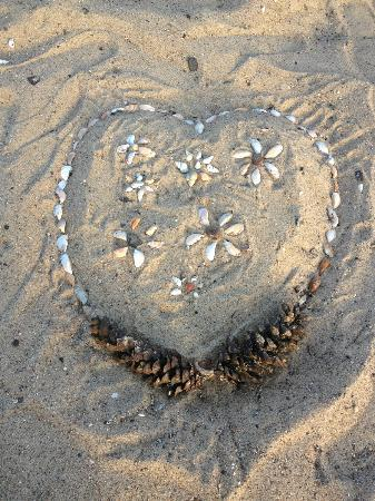 Pointes North Beachfront Resort Hotel: Rest...made on beach with shells and pinecones