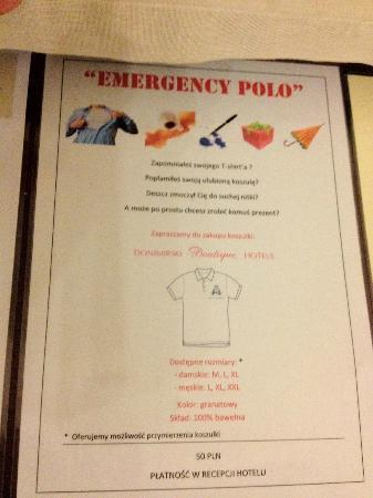 "Hotel Kosciuszko: The ""Emergency Polo"" at the hotel. I thought this was so funny!"