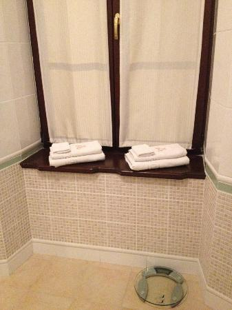 Hotel Kosciuszko: Bathroom window & Towels