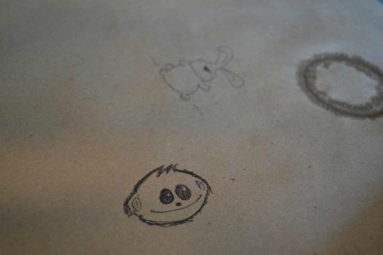 Dogfish Cafe: Drawing on the paper table cover