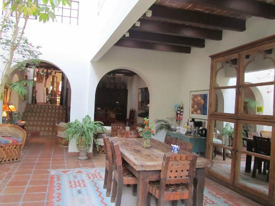 Casa de la Noche: the dining room looking into the main salas above