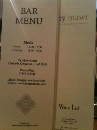 Ty Mawr Hotel: Menu again