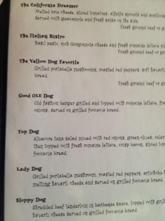 Yellow Dog Cafe Dinner Menu