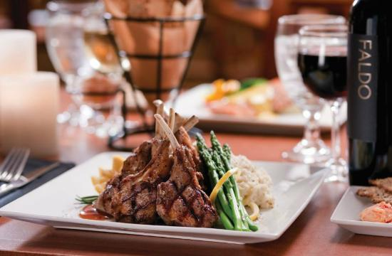 The Grill at Grande Vista : Lamb Chops with Maple all grain mustard glaze, asparagus and mashed potatoes.