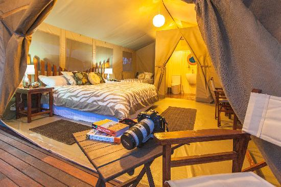 Wildebeest Eco Camp: Inside a deluxe safari tent