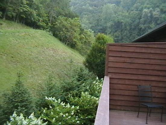 House Mountain Inn: View from left-wing corner room balcony. Private.