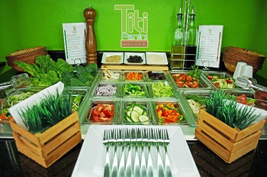 Titi Panini Pasta & Salad Bar: Salad Bar with a fresh and delicious selections of local vegables.