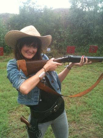 San Antonio Western Shooting: Never shot a gun? No problem! It's her first time too.