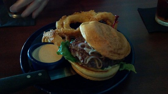 Square 1: Lamb burger with rings.