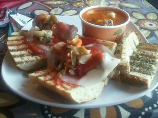 Bonta Italian Market and Cafe: Italian sausage sandwich and Tortellini Sausage soup