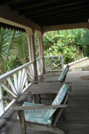 Petite Anse Beachfront Hotel & Restaurant Grenada: Deck overlooking the ocean.