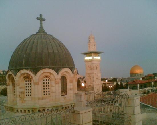 Ecce Homo Convent: The rooftop of Ecce Home guest house, looking towards the Church basilica and Dome of the Rock