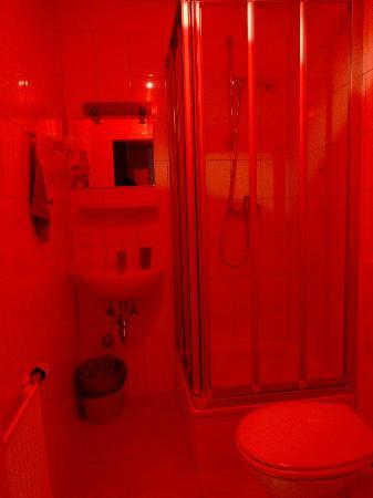 Achterbahn Hotel: バスルーム、実際はこんな真っ赤じゃありませんので・・・