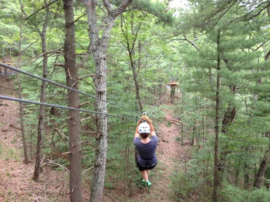 Bear Mountain Ziplines: This is my daughter going down the 3rd zipline out of 7