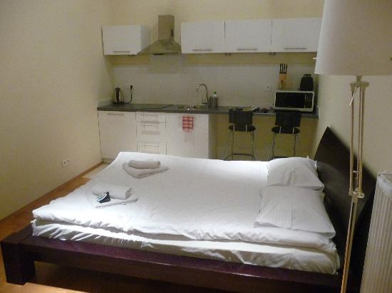 Venetian House Aparthotel : Bed & Kitchen