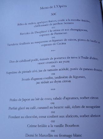 Les Muses De L'Opera : menu muses 30 euros