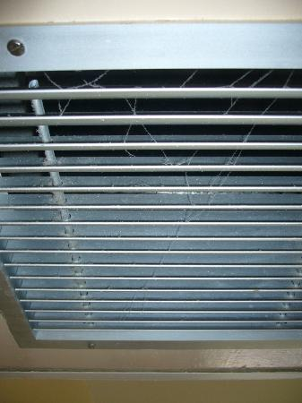 Hotel Bakoua: Toiles d'araignées dans la grille de la climatisation.
