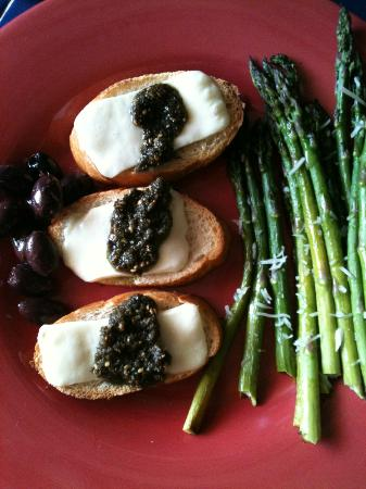 Mediterranean Imports & Deli: French baguette, Chicago Basket cheese and Zaatar with a side of pitted Kalamata olives