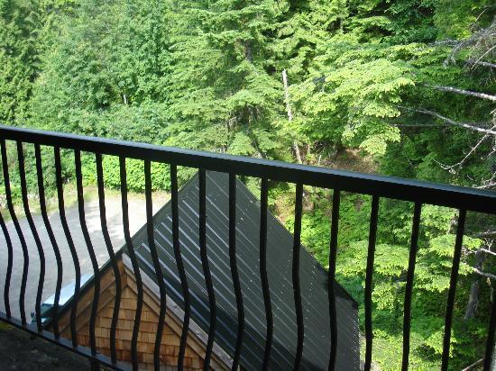 The Lodge at Skeena Landing: View from room (restaurant  parking below)