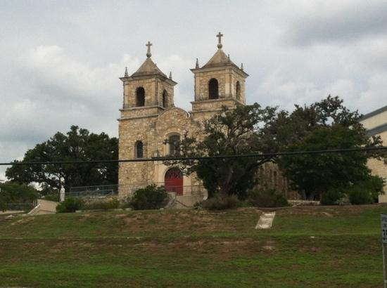 Boerne Visitor Center: striking church entering Boerne