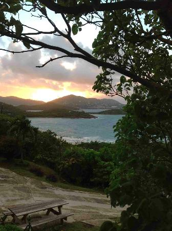 Virgin Islands Campground: sunset view from suite deck