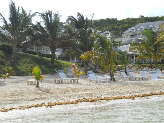 Nonsuch Bay Resort: Looking back at the resort beach from the water