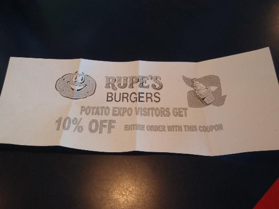 Idaho Potato Museum: ask for your 10% off Rupe Burger coupon