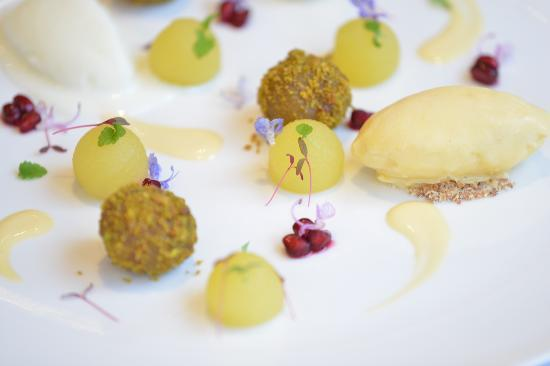 La Petanque: Saffron Poached pear, pistachio aranchini,olive oil ice ...