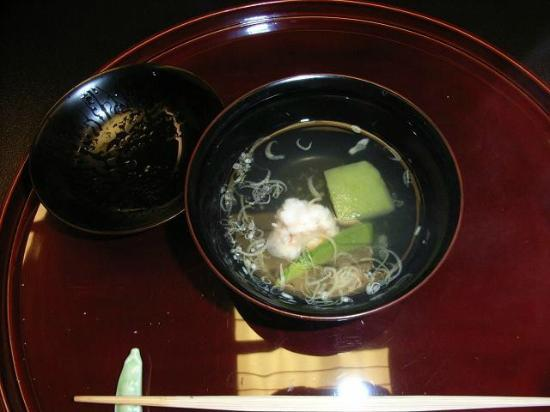 Yumeya: Clear soup with prawn and green vegetables
