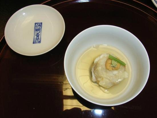 Yumeya: A fish cake with sea urchin on top