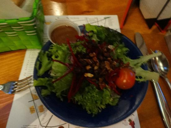 Big Sky Cafe: house salad with raw beet shreds and toasted pecans
