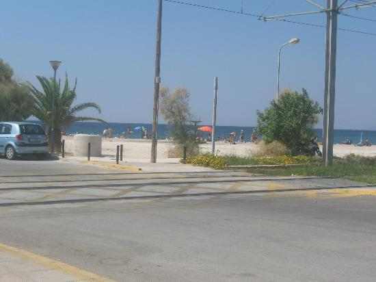 Glyfada Hotel: Beach few mins walk from hotel with tram stop in foreground